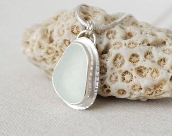 Seafoam Green Sea Glass Pendant - Natural Sea Glass, Genuine Sea Glass - Sea Glass Necklace, Sea Glass Jewelry