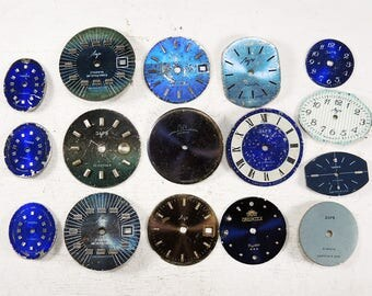 Small Blue Watch Faces - set of 16 - c73