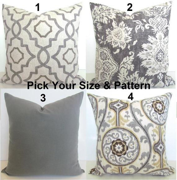 Gray Throw Pillows For Bed : GRAY PILLOWS TAN Throw Pillow Covers Grey Pillows Grey Throw
