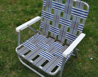 Vintage Sunbeam Blue & White Striped Low Sitting Folding Webbed Beach Chair