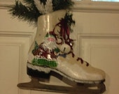 Black Friday Sale Hand Painted Country Ice Skate Santa
