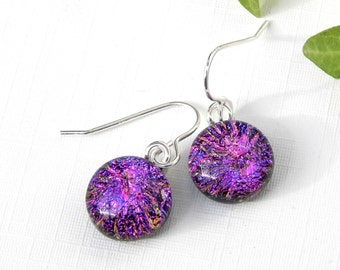 Cerise Pink and Purple Dichroic Glass Dangle Earrings on 925 Sterling Silver Earwires, Fused Glass Dichroic Jewelry,  Round Drop Earrings