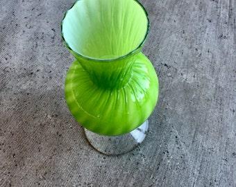 Vintage Chartreuse Glass Vase. 1950's Green Glass Vase