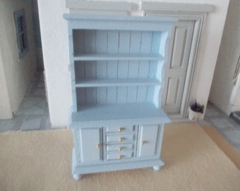 Reserved for saraurry1  Dollhouse  dresser hutch hand painted  Blue 1 /12th  miniature furniture for a dolls house