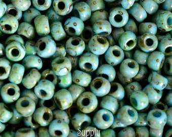 6/0 Miyuki Turquoise Picasso Seed Beads - 1161 - 16 grams - Miyuki Color # 6-4514 - 6/0 Matte Seafoam Picasso
