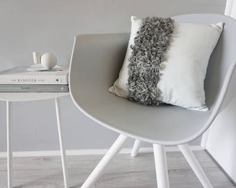 Exclusive Luxury Nappa Leather Cushion with Genuine Swedish Gotland Sheepskin Rug Line