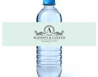 Monogram Water - Monogram Water Labels - Wedding Water Labels - Wedding Favors - Custom Water Bottles Labels Wedding