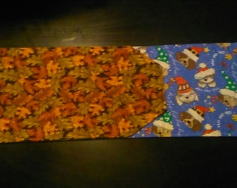 Glittery Reversible Holiday Table Runner Fall to Puppy Christmas
