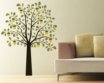 Oak tree with 2 shades of green leaf and acorns vinyl wall decal