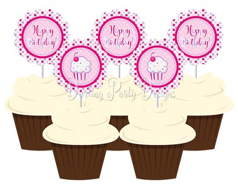 Lil Cupcake Birthday Party, Cupcake Toppers, 1st Birthday, Pink and Purple Cupcake Party, First Birthday, Instant Download
