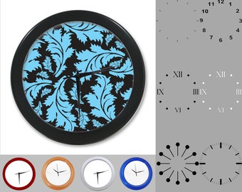 Blue Leaf Wall Clock, Abstract Nature Design, Artistic Leaves, Customizable Clock, Round Wall Clock, Your Choice Clock Face or Clock Dial