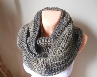 Crocheted Infinity Scarf Cowl Neck Warmer Shawl Beige Brown