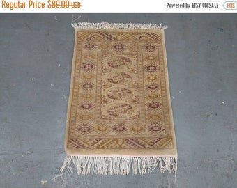 CLEARANCE 1970s Vintage, Hand-Knotted, Retro Bokara Rug (2810)