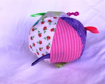 Jingle Fabric Tag Ball Baby Crib Toy Flowers