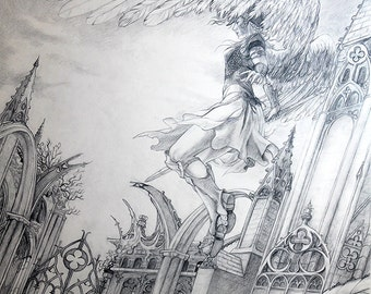 Valkyrie Fantasy Art Original Drawing Gothic Architecture Angel Mythology Black Pencil Artwork
