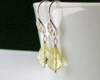 Yellow Drop Earrings, 925 Sterling Silver and Yellow Quartz, Medium Length Lightweight Dangles, Leaf Accents, Nature Jewelry, Semi-precious