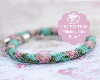 Bead crochet necklace pattern Bead crochet pattern Beadwork graph Shabby Chic pattern Bead crochet bracelet pattern Chudibeads