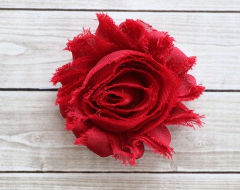 Ruby Red shabby chic rosette hair clip frayed chiffon flower clip