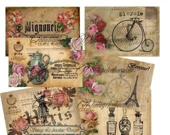 ON SALE Digital Vintage Paper Postcards, Digital Paper, Vintage Paper Ephemera Postcard, Cards and Tags Labels Background Paper.  No. 700
