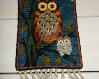Swedish hand embroidered wall hanging 1970 s / an owl