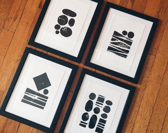 Hand Printed Minimalist Geometric Art Prints - Set of 4