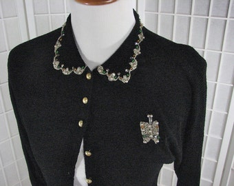 1940/50s Black Silky Knit Sweater with Butterfly and Gems......  size Medium