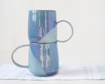 Set of two large Blue tone Ceramic Stoneware Mugs