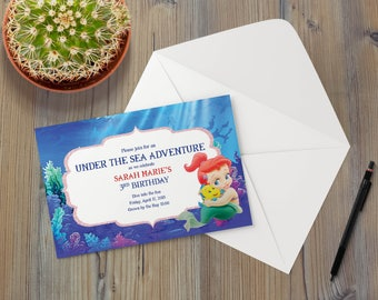Instant Download - Little Mermaid Princess Ariel Flounder Fish Nautical Ocean Whimsical Birthday Shower Party Invitation Template