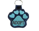 Adopt Paw Key Fob Key Chain- adopt don't shop - paw print key chain- paw print embroidery