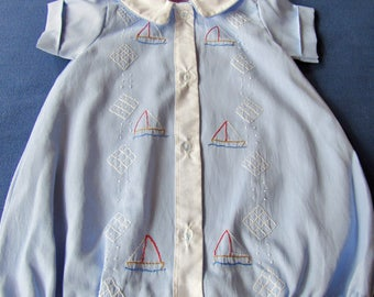 Had made boys bubble with embroidered sailboats