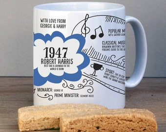 Personalised 1947 Birthday Mug For 70th Birthday-1947 Birthday Gift-Personalised Birthday Gift-70th Gift-Tea Lover-Gift for Grandparents