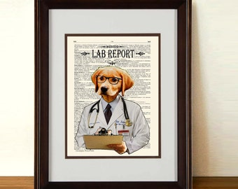 "Fine Art Print: -  ""Lab Report"" - 8.5"" x 11"" print, whimsical dog print, Veterinary gift,  Doctor gift, Medical intern gift, Labrador Lover"