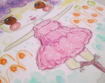 Original Watercolor Ballerina Girl Pastel Pink Blue Purple by Ceville Designs