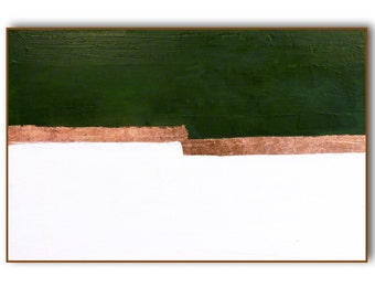 """Painting Wall Art Canvas Green Copper """"Diversion"""" Original and Canvas Prints Mid Century Modern Painting Abstract Geometric Copper Wall Art"""