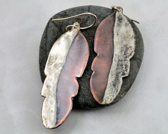 Mixed Metal Feather Earrings with blended Copper and Silver Solder
