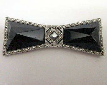 Art Deco Style Faux Onyx And Marcasite Brooch    Large