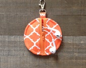 Orange and White Quatrefoil Circle Zip Earbud Pouch Coin Purse Holder Case