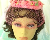 Half Off Sale Pink and Green Floral Pill Box Hat with Pink Veil, Vintage item, Silk Flowers, Netting, 1950s, Vintage Wedding Hat, Garden Par
