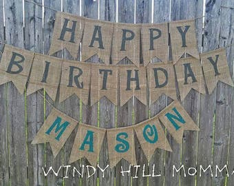 HAPPY BIRTHDAY Burlap Banner happy birthday decoration home decor