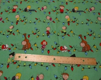 Green Peanuts Gang Christmas with Strings of Lights  Cotton Fabric by the half yard
