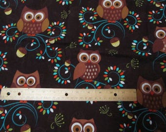 Brown Owls  Cotton Fabric by the Yard