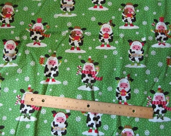 1.5 Yards/54 Inches Green Christmas Cows Cotton Fabric