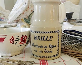 Antique French Maille Large Mustard Crock with Blue Transferware, Dijon and White Wine Moutarde