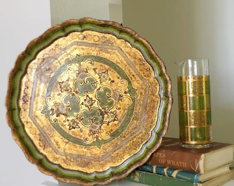 """Mid-century Florentine Gold Gilt Wood Tray from Italy, 50s, Large Round Florentine Tray, Moss Green an Gold, Hollywood Regency, 15.5"""""""