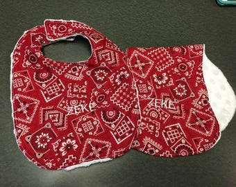 Red Bandana Bib & Burp Rag Set
