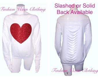 Fashion Vixen Red Glitter Heart White Off the Shoulder Sweatshirt (slashed or solid back) XS S M L XL Plus Size 1x 2x 3x 4x 5x