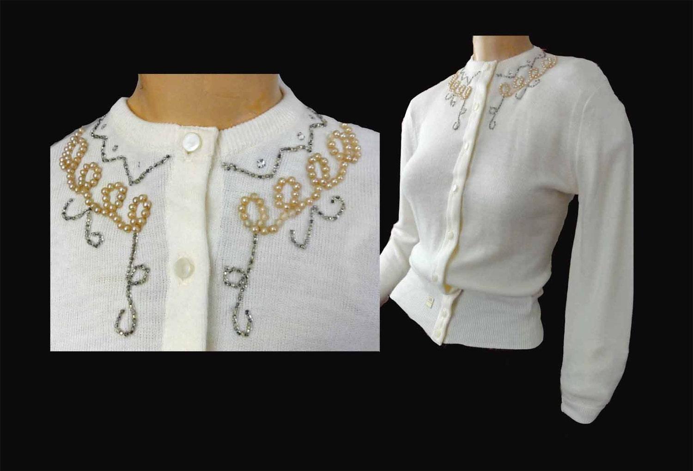 Beaded Sweater Vintage 50s Cardigan White Rhinestone & Pearl
