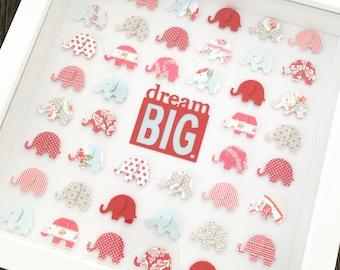 elephant frame | nursery decor | dream big | elephant nursery | new baby gift | christening gift | baby shower gift | elephant decor |