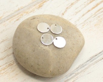 Sterling Silver Round Stamping Blanks  -- FOUR Pieces 9mm Shiny Sequin Discs Circle Pendants