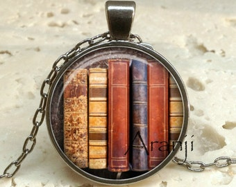 Book pendant, book necklace, book jewelry, bookshelf necklace, bookshelf pendant, gift for bookworm Pendant#HG157GM